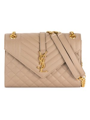 Saint Laurent V Flap Monogram YSL Medium Envelope Chain Shoulder Bag - Golden Hardware
