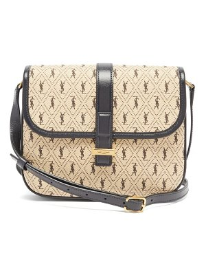 Saint Laurent ysl-print leather-trim cotton-canvas satchel