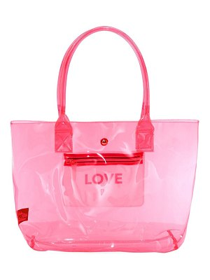 Saks Fifth Avenue collection love translucent neon tote bag