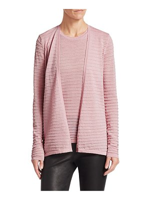 Saks Fifth Avenue collection ribbed merino lurex cardigan