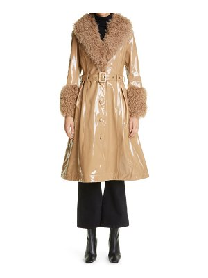 Saks Potts foxy genuine shearling trim patent leather coat