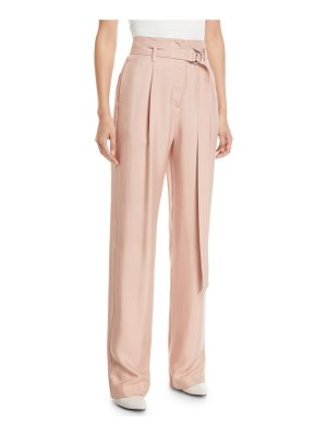Sally Lapointe Belted High-Waist Straight-Leg Silk Twill Pants