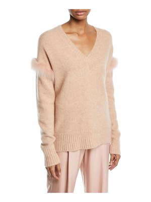 Sally Lapointe Fox-Fur Trim V-Neck Cashmere-Silk Pullover Sweater