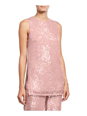 Sally Lapointe Sequined Jersey Shift Tank