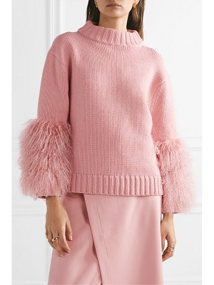 Sally Lapointe shearling-trimmed merino wool and cashmere-blend sweater