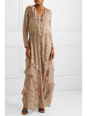 Saloni izzie ruffled printed silk-georgette maxi dress