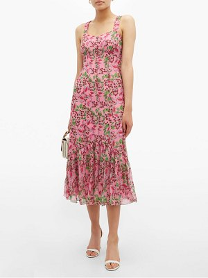 Saloni joel floral and berry print silk midi dress