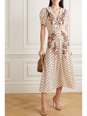 Saloni lea button-embellished printed silk crepe de chine midi dress