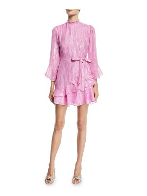 Saloni Marissa Metallic Ruffle High-Neck Mini Dress