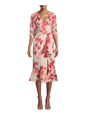 Saloni Olivia Printed Silk Midi Dress
