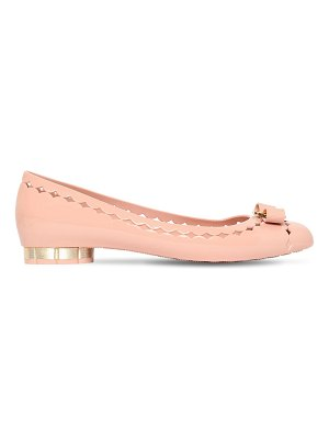 Salvatore Ferragamo 20mm jelly laser cut pvc ballerina flats