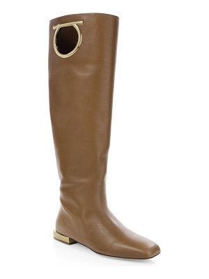 Salvatore Ferragamo avio leather knee-high boots