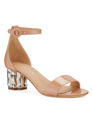 Salvatore Ferragamo Azalea 55 Patent Leather Metallic-Heel Sandals