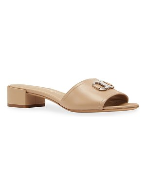 Salvatore Ferragamo Clare 30 Leather Gancini Slide Sandals