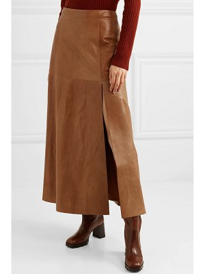 Salvatore Ferragamo leather midi skirt