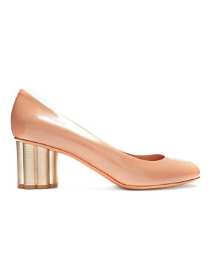 Salvatore Ferragamo Lucca column-heel patent-leather pumps