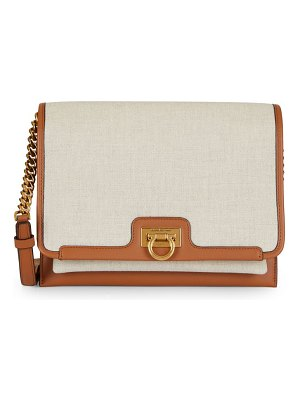 Salvatore Ferragamo medium gancini leather-trimmed canvas crossbody bag