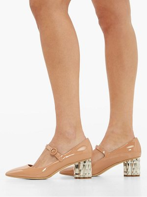 Salvatore Ferragamo ortensia faceted heel mary jane leather pumps