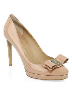 Salvatore Ferragamo osimo bow platform patent leather pumps