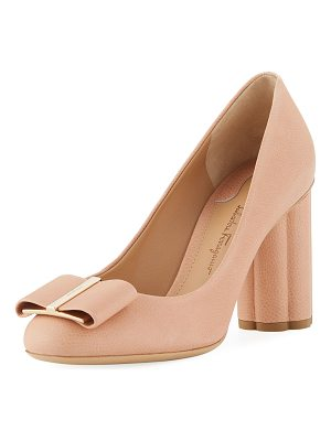 Salvatore Ferragamo Pebbled Leather Flower-Heel 85mm Pumps