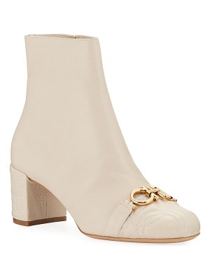 Salvatore Ferragamo Primula Quilted Leather Gancini Booties