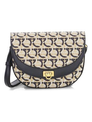 Salvatore Ferragamo small gancini jacquard canvas saddle bag