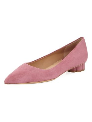 Salvatore Ferragamo Suede Pointed-Toe Skimmer Flat with Flower Heel