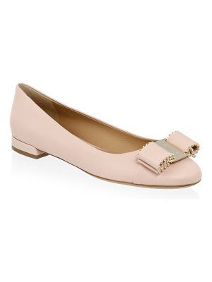 Salvatore Ferragamo vara studded bow leather flats