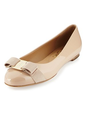 Salvatore Ferragamo Varina Patent Leather Bow Flat
