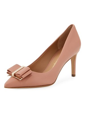 Salvatore Ferragamo Zeri Mid-Heel Napa Leather Bow Pumps