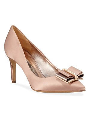 Salvatore Ferragamo Zeri Satin Embellished Pumps