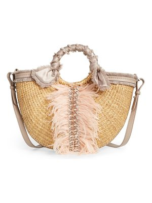 Sam Edelman idina feather straw tote