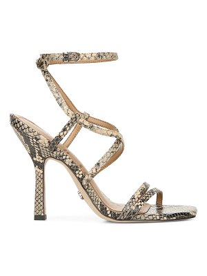 Sam Edelman leeanne ankle-wrap snakeskin-embossed leather sandals