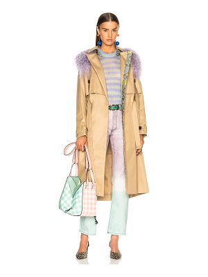 Sandy Liang Leesi Trench Coat With Lamb Shearling