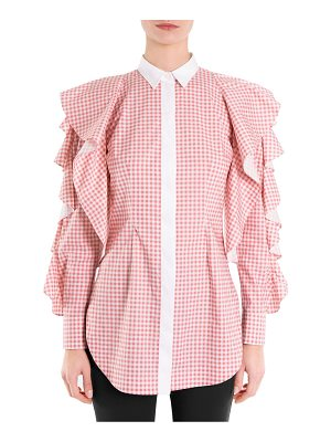 SARA BATTAGLIA checked ruffle sleeve blouse