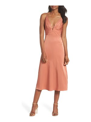 SAU LEE lea plunge neck midi dress