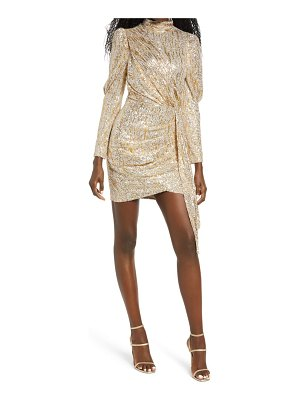 Saylor bianca gold foiled sequin long sleeve minidress