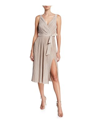Saylor Jacki Pleated Metallic Sleeveless Dress w/ Slit