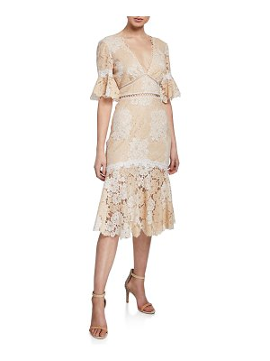 Saylor Maggy V-Neck Elbow-Sleeve Floral Lace Dress
