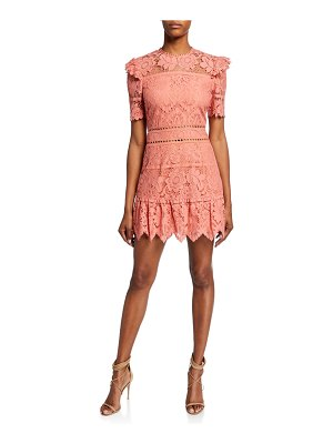 Saylor Sigourney Short-Sleeve Open-Back Bold Lace Mini Dress