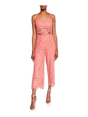 Saylor Willow Bold Floral Lace Set with Crop Top & Cropped Pant