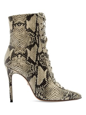 Schutz anaiya snake-embossed leather lace-up point toe mid-calf boots