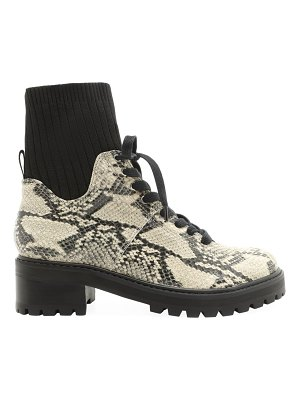 Schutz becky snakeskin-embossed leather sock combat boots