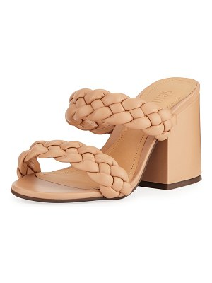 Schutz Elida Braided Leather Chunky-Heel Slide Sandals