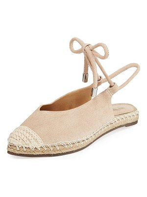 Schutz Laba Flat Leather Ankle-Tie Espadrilles