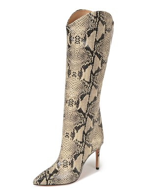 Schutz Maryana Snake-Print Leather Knee Boots