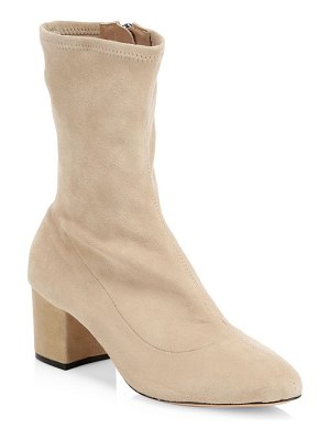 Schutz stretch suede block heel booties