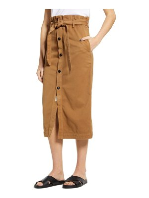 Scotch & Soda high paperbag waist button front midi skirt