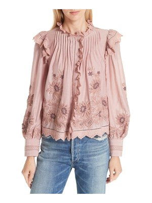 SEA greta embroidered ruffle trim blouse