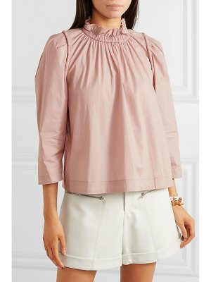 SEA sienna gathered cotton-blend blouse